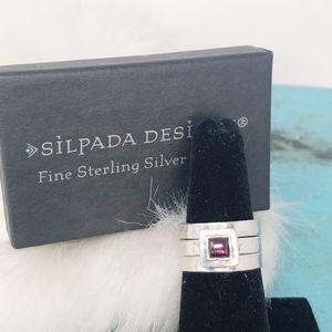 Silpada Garnet Stack Set Rings SZ 8 R0949 Sterling
